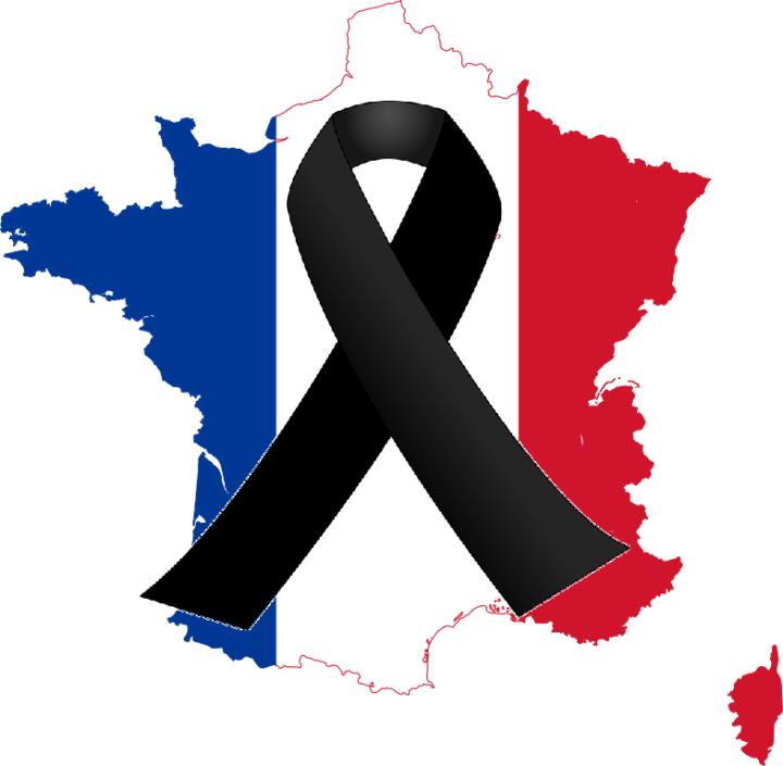 França: Território nas cores da bandeira e o símbolo de Luto por cima dele.