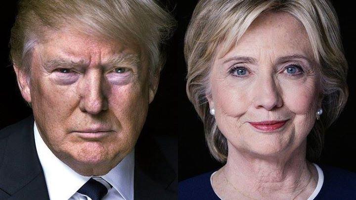 "Foto ""3x4"" de Hillary e Trump, lado a lado."