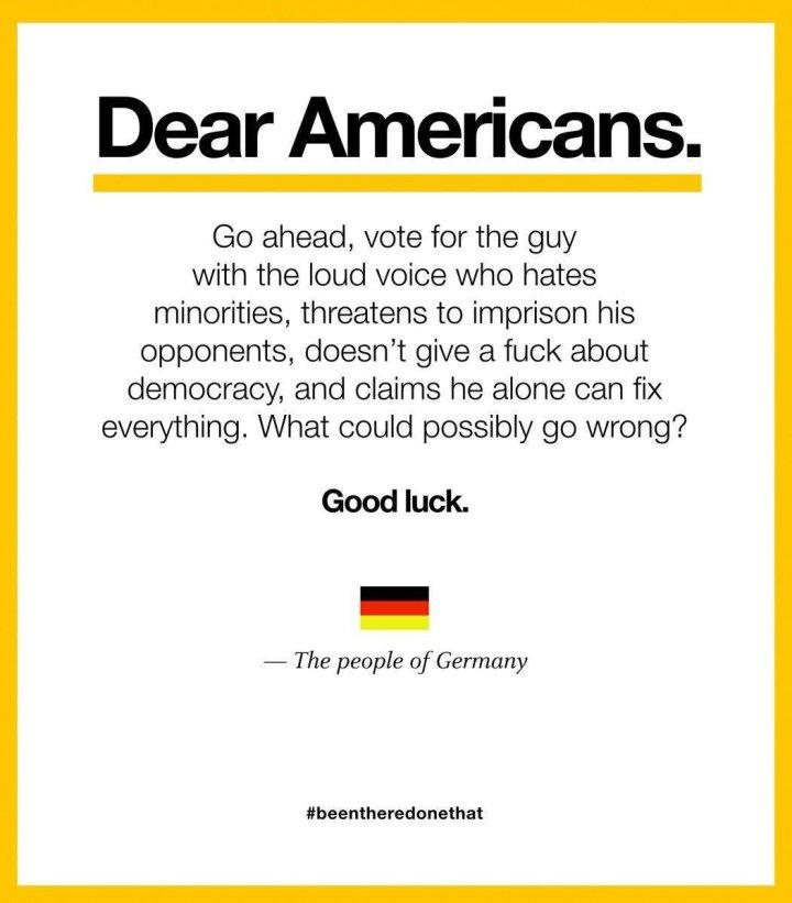 """Tweet """"da Alemanha"""" aos EUA, avisando dos perigos de Trump."""