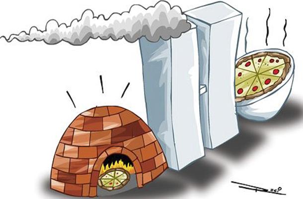 A charge mostra Senado e Câmara, em Brasília, como um forno de pizza.