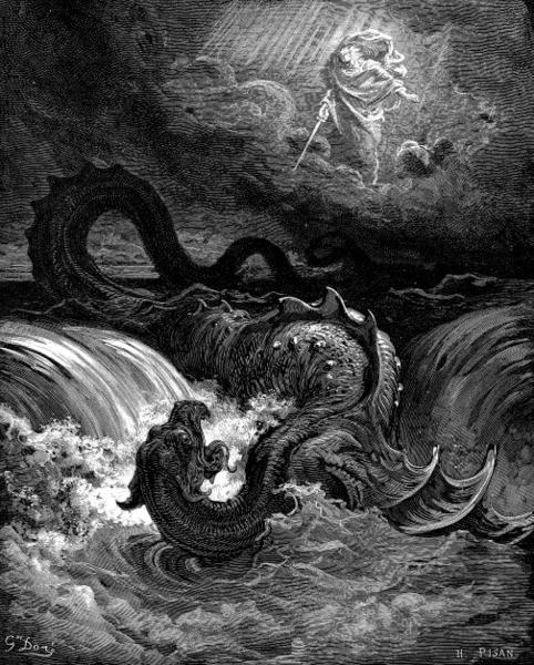 Imagem ilustrando a destruição da Besta Leviatã